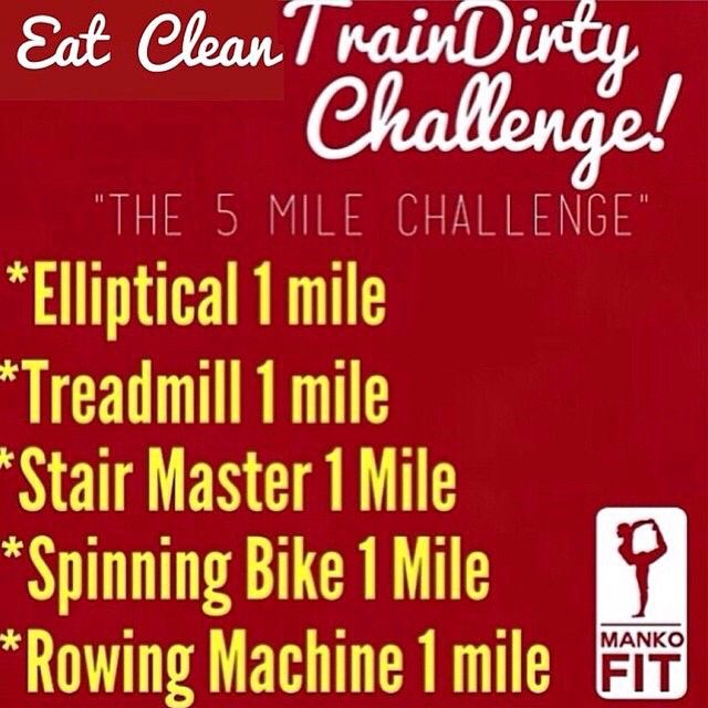 The 5 mile challenge .  At gym: depending on your fitness level (beginners will chose 3 machines and complete 1 mile). For intermediate to advanced here's the challenge choose 5 machines, complete 1 mile of each.  You can repeat a cardio machine of your choice.  At home: beginners a high pace walk for 30 mins. For more advanced do both stairs (15 mins) and jogging (15 mins)  Do not forget to stretch  or foam roll guys it is very important.  Who's in? Let me hear you guys!!!!! .