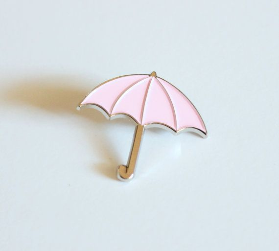 Pastel Pink and Silver Umbrella Lapel Pin // by TheSilverSpider