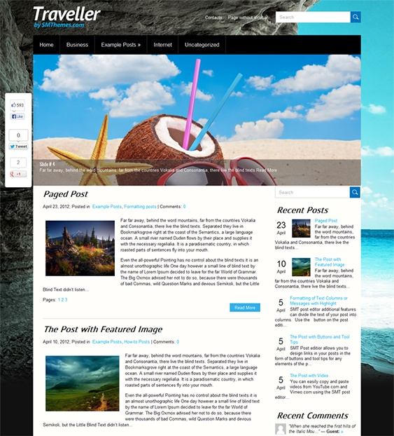 This free WordPress travel theme includes a responsive layout, a slider ready design, SEO-friendly code, a contact page, custom sidebars and menus, a Google Maps shortcode, a social sharing bar, translation options, and more.
