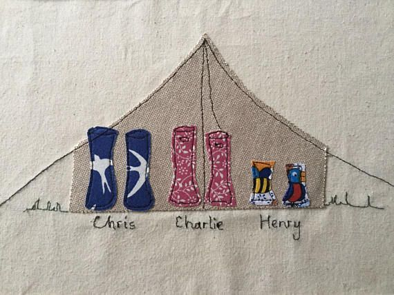 Personalised machine embroidery family or couple wellies
