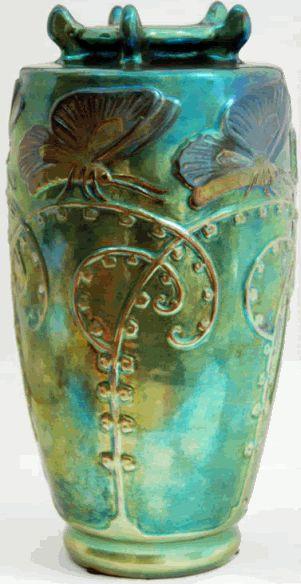 Zsolnay Eosin Art Nouveau Vase 'Butterflies on Stems'.