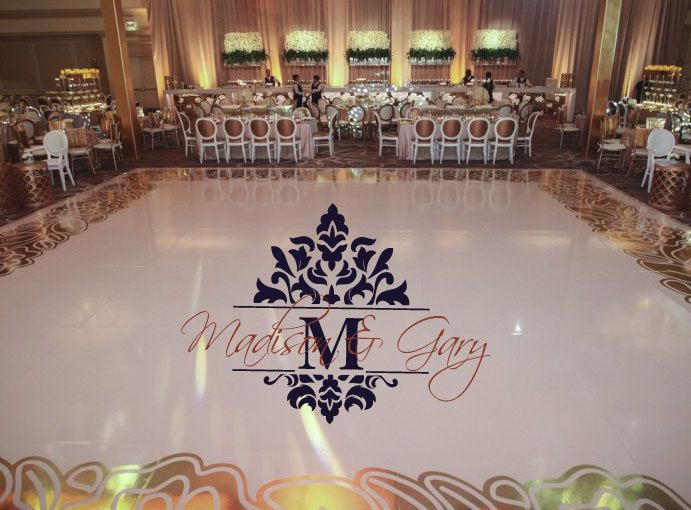 Reception party huge damask theme dance floor decal wedding day fancy calligraphy font personalized names vinyl lettering colors by wallstory on etsy