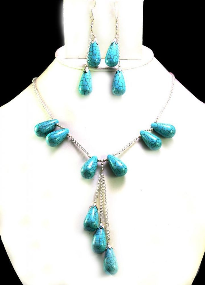 255ct Natural Semi Precious Blue Turquoise Designer Beads Necklace with Earrings #Handmade #Choker