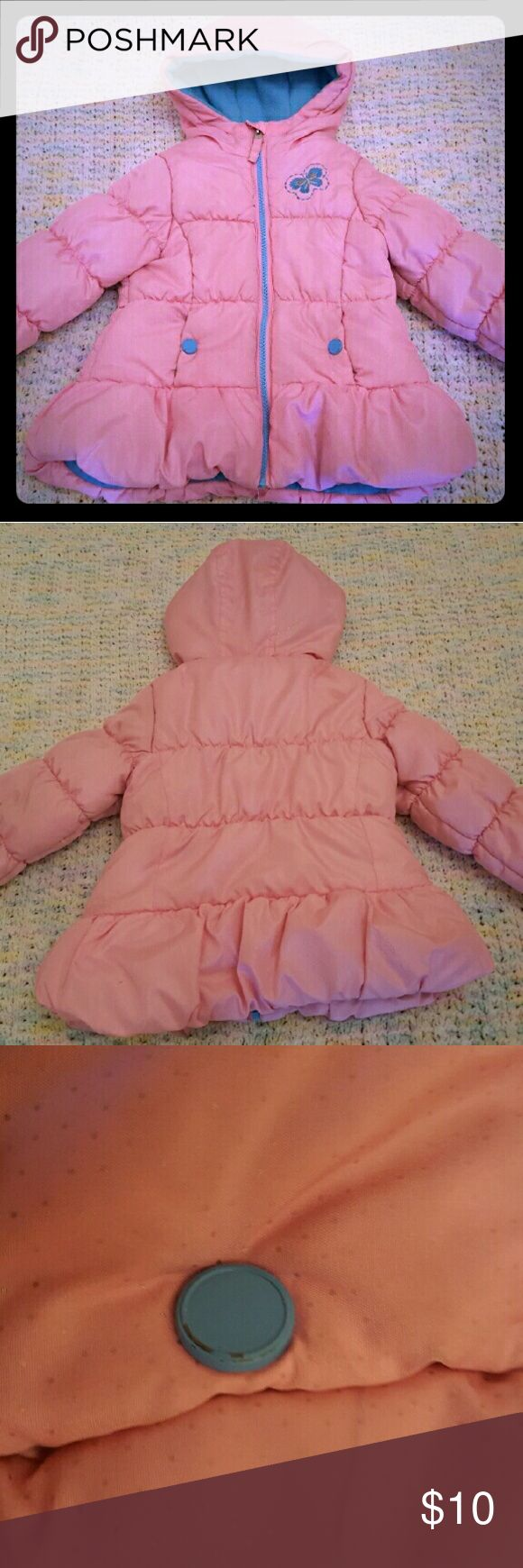 Protection System Pink Butterfly Winter Coat Pink sparkly winter coat decorated with a blue butterfly and blue accents. Moderate wear can be detected on the buttons and at the bottom hem and end of sleeves (pictured above). Perfect play condition. Size 3T. Protection System Jackets & Coats Puffers