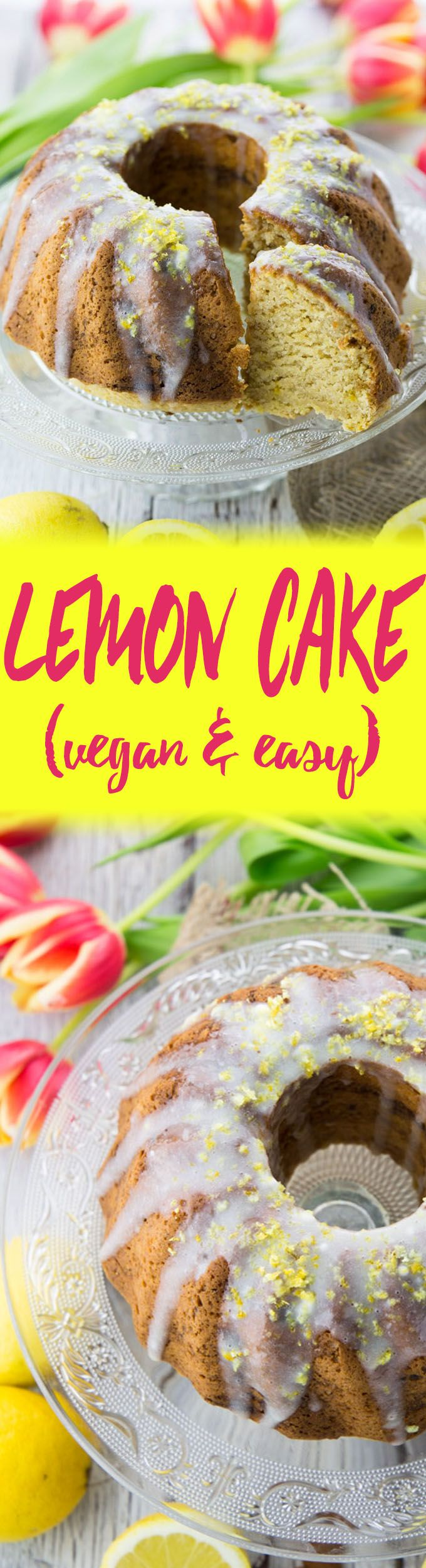 This vegan lemon cake is one of my favorite cakes for spring and summer. It's super delicious, fluffy, and moist! Plus the recipe is incredibly easy!