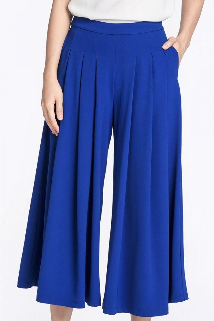 ФОТО - Рене плиссированные брюки в Кобальт синий