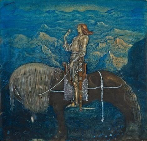 Artwork by John Bauer, En riddare red fram, Made of Watercolour and heightening white