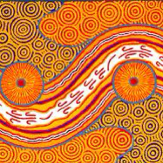 Aboriginal art--so many colors and motions here. Such a sense of place.