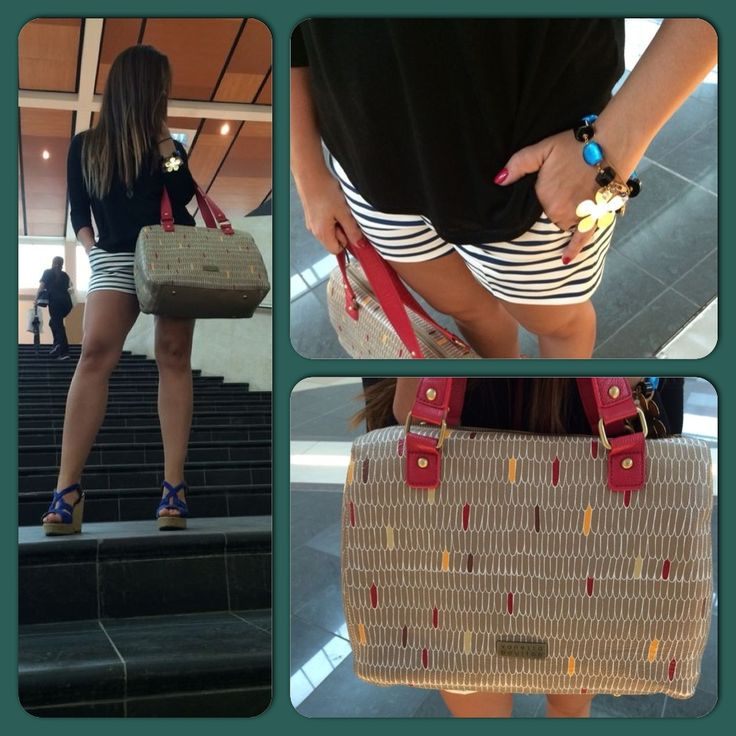 Perfect outfit! Love nautical with red bag!