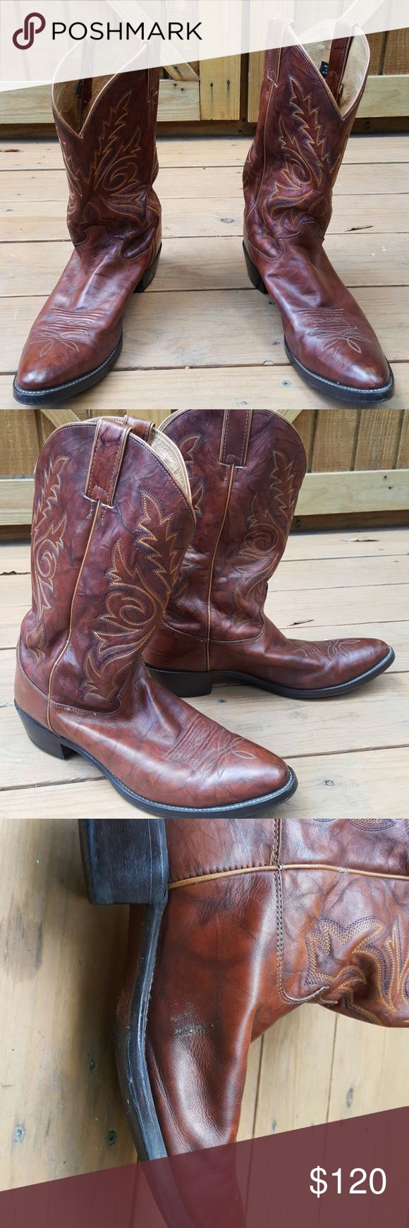 "Justin Chestnut Western Boots Clean pre-owned Justin Cowboys Boots. Brown with tan stitching. Shows a little wear on the heel. Has a scape on inside heel shown in pictures. Measures: 14.5"" tall, 13.5"" long Justin Boots Shoes Boots"