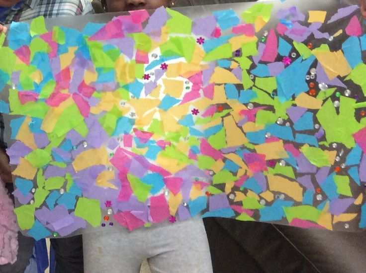 Window collage: contact paper, tissue paper (ripped), gems