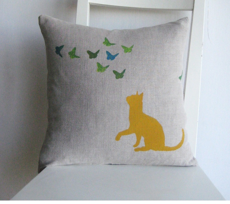 Cats,Hand Made By Linda Throw Pillow Cover