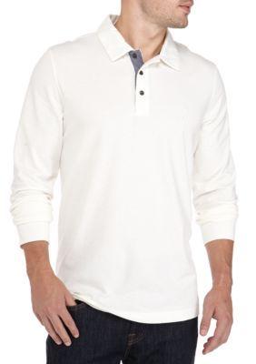 Nautica Men's Long Sleeve Polo - Marshmallo - 2Xl