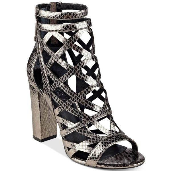 Guess Women's Eriel Cage Sandals ($66) ❤ liked on Polyvore featuring shoes, sandals, pewter, guess footwear, pewter sandals, guess sandals, cage sandals and caged shoes