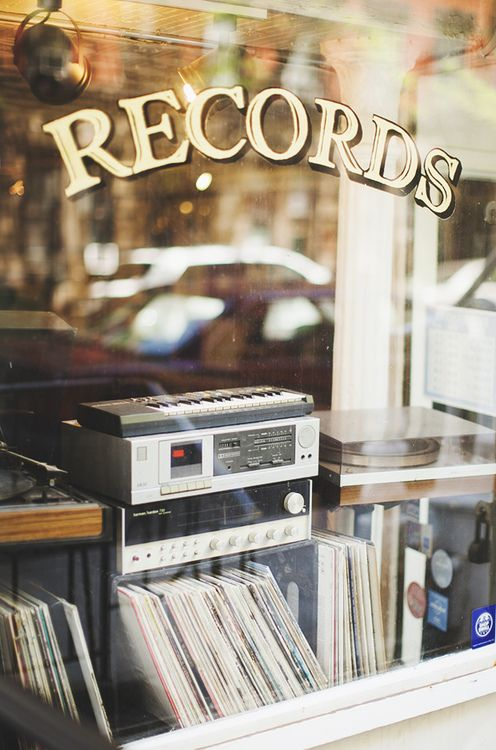 get an old window from ReStore to make a record shop sign for above stereo table