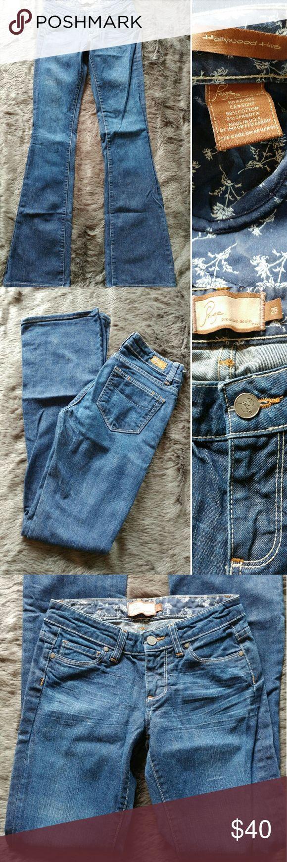 Paige Premium Denim Hollywood Hills Jeans SZ 25 Paige Premium Denim Hollywood Hills Bootcut Jeans Dark Wash Woman's SZ 25 Inseam 32. Jeans sre in excellent pre-owned condition. Thanks 🌸  Measurements:  Waist: 13 inches Rise: 7 inches Inseam: 32 Paige Jeans Jeans Boot Cut