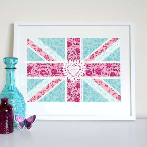 Union Jack floral patchwork flag (aqua), UK flag print, British flag print, English flag, English flag poster, British flag poster