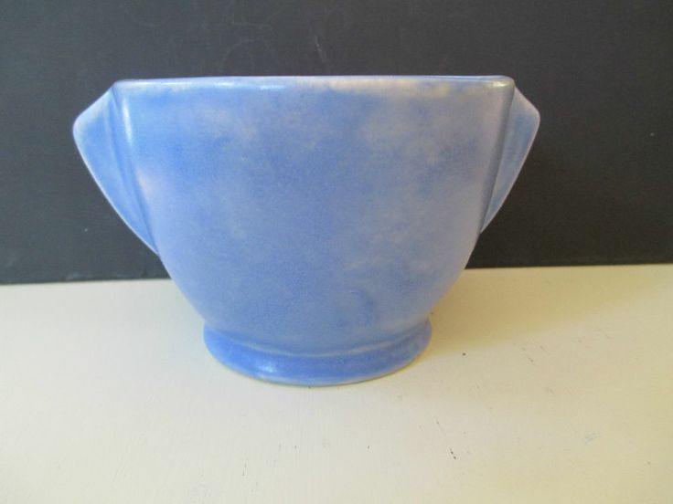 8.5cm x 12cm Melrose Pottery - Art Deco Style Blue Handled Vase