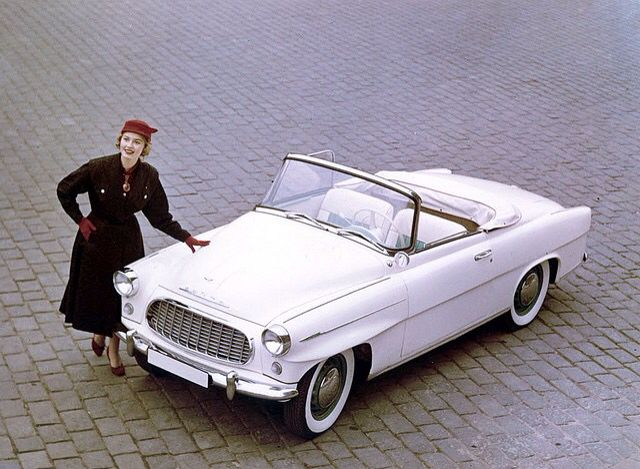Miss America 1957 with a Skoda cabriolet car.