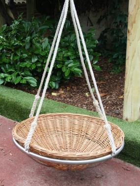 Our beautiful wicker nest swing will make a stunning addition to any garden.  Handamde in our workshop it's a great alternative to our rope nest swing.  Waste hours staring up into the branches of the trees or sky or simply reading a good book, this will be a great place for children and adults to play and escape.  Cosy up in the winter or catch the summer breeze, this swing is built to last so will be enjoyed and admired for many years to come.