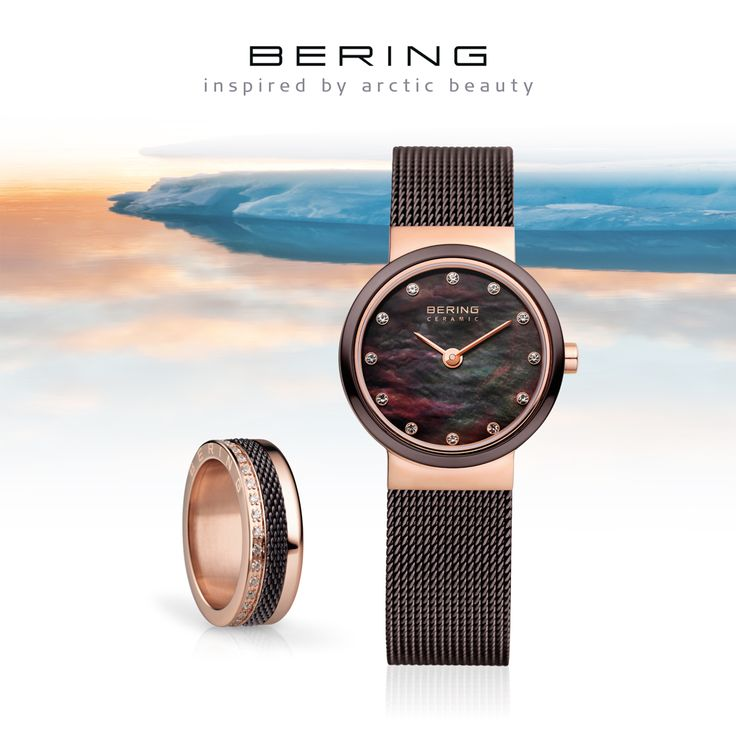 Rosé gold and brown; Watch and ring combination; BERING; Classic Collection; Arctic Symphony Collection