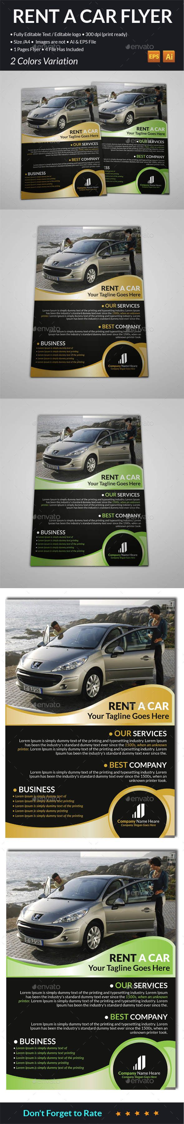 Rent A Car Flyer Vector Eps #Car #Design Available Here