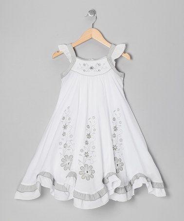 Love this White & Gray Floral Swing Dress - Girls on #zulily! #zulilyfinds