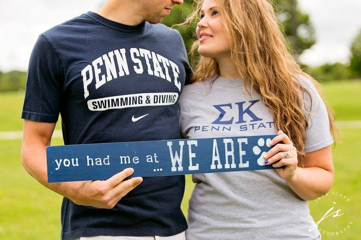 """Vicki Martin ('08) & Jeffrey Gomez II ('13) and their #PennState love story. """"I met Jeff at a tailgate the 2012 season. He was a varsity swimmer and I was visiting friends.  He proposed to me in Dublin at the PSU game last fall and we're getting married at the Nittany Lion Inn on 9/24/16."""""""