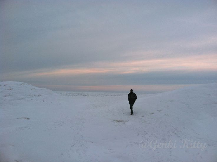 Walking on Frozen Lake Michigan in Winter 2015