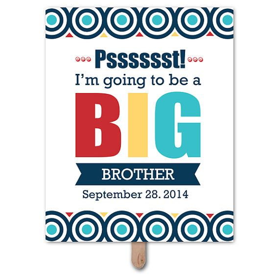 Printable Maternity Prop, Gender Reveal, Baby Shower, Party Sign, Photo Booth Prop, Pregnancy Announcement, Big Brother Sign on Etsy, $5.00