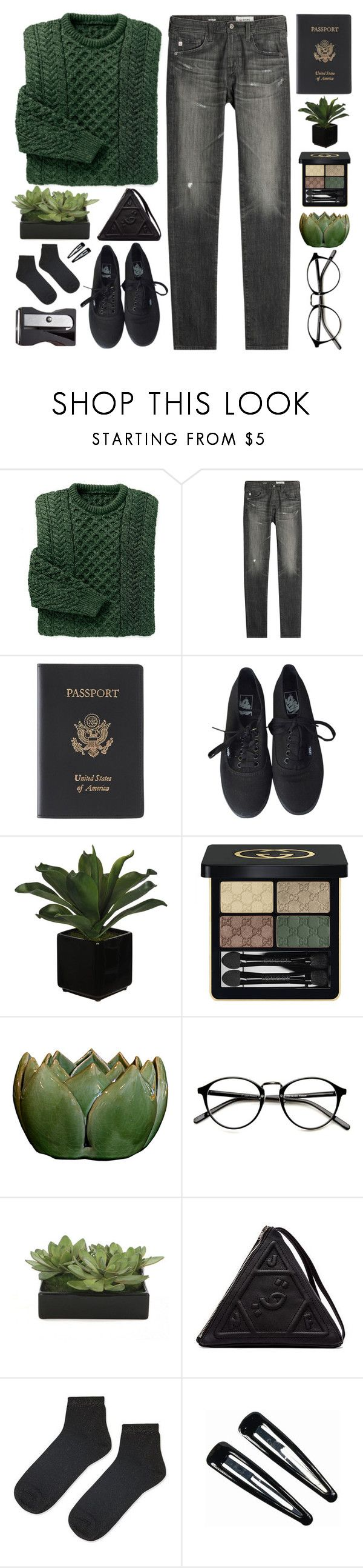 """""""i was young and a menace"""" by megan-vanwinkle on Polyvore featuring AG Adriano Goldschmied, Royce Leather, Vans, Gucci, Lux-Art Silks, UNIF, Topshop, Clips, Monkey Business and polyvoreeditorial"""