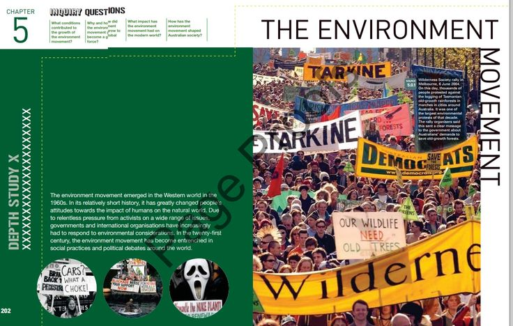 21 page PDF from Pearson Textbook - Chapter 5 - The Environment Movement. Includes Source Study: The Franklin River Struggle and learning activities.