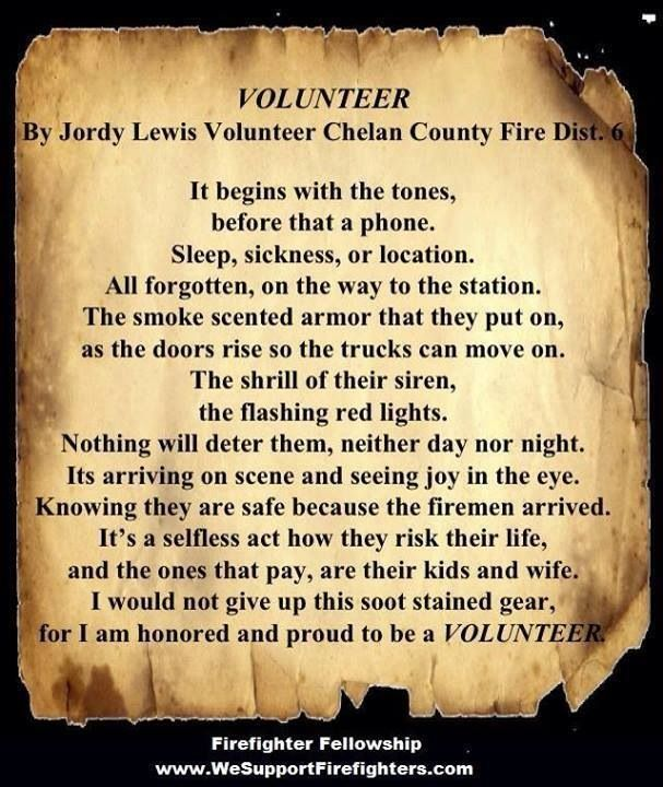 Volunteer firefighter poem