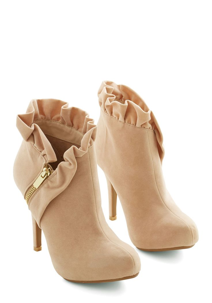 You Haute to Know Heel in Peach. Accessorize with shoes as posh as your trend-setting ensembles by slipping into these peachy-cream, heeled booties! #tan #wedding #modcloth