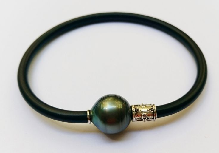 Salt Water & Fire Ladies & Gents Tahitian South Sea pearl bangle with sterling silver collars $295