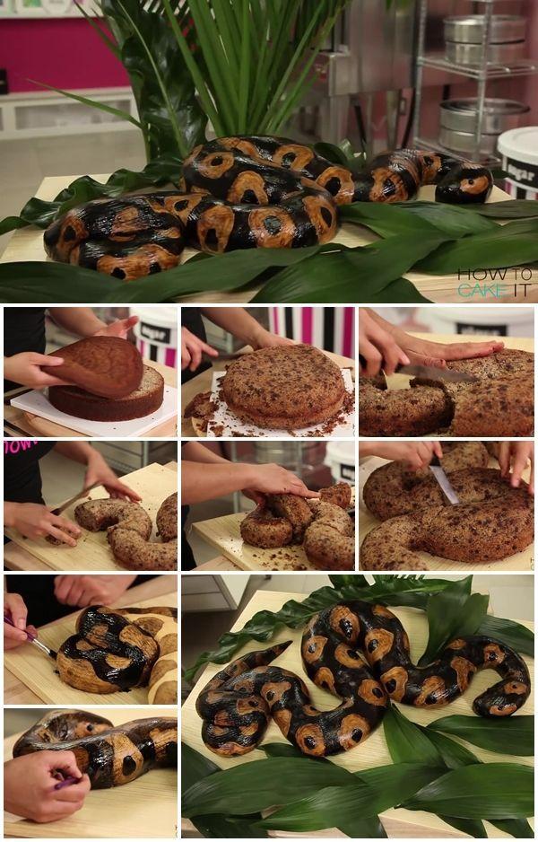 How to Make a Snake Cake | UsefulDIY.com                                                                                                                                                      More