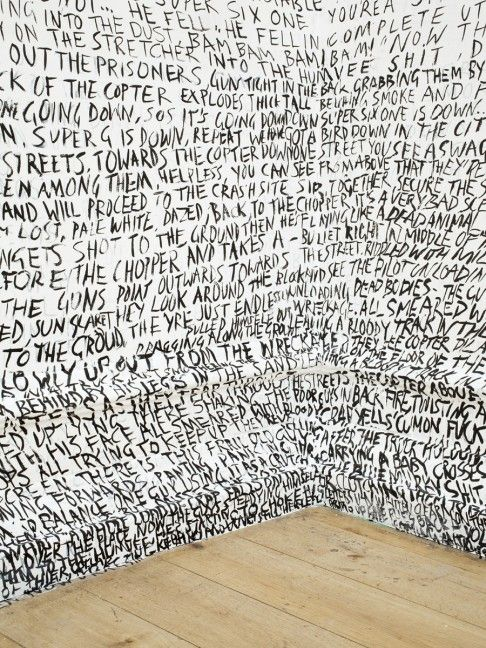 Fiona Banner, although more famous for having hung a fighter jet from the ceiling of the Tate, creates installations of films: a running commentary on the movie, handwritten and unadulterated in her characteristically messy drawl - something I truly can take inspiration from.