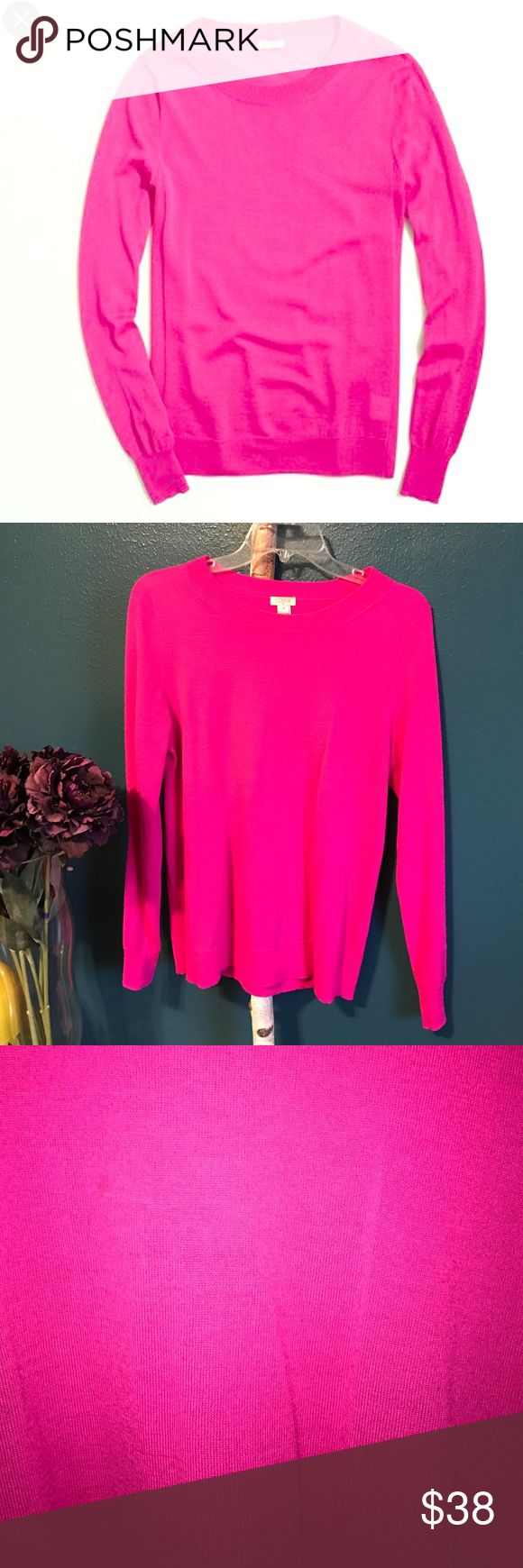J. Crew Sawyer Sweater in Fuchsia This adorable sweater is super comfortable and is 50% acrylic and 50% merino wool! Gently worn, very minor pilling as seen in last photo. J. Crew Sweaters Crew & Scoop Necks