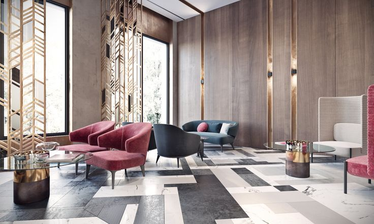Bright modern lobby in Moscow with brass and special lamps/ SEE MORE AT: http://modernhomedecor.eu/modern-furniture/modern-lobby-moscow/