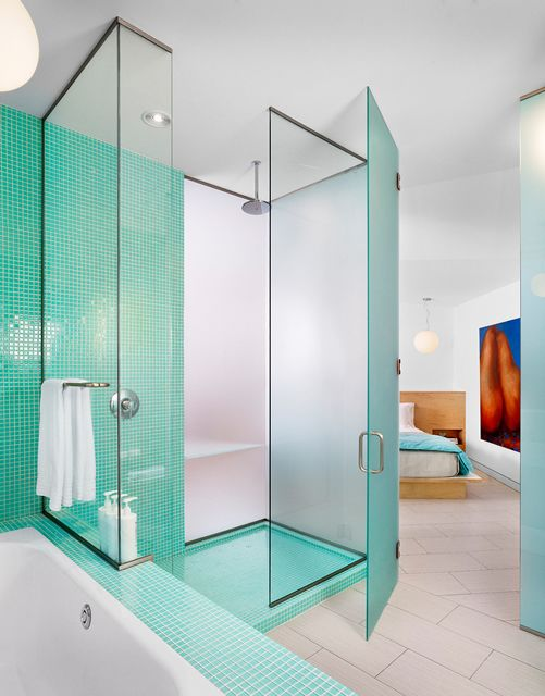 modern bed and breakfast bathroom and bedroom
