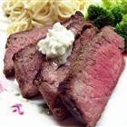 Kickin' London Broil with Bleu Cheese Butter Recipe - Allrecipes.com