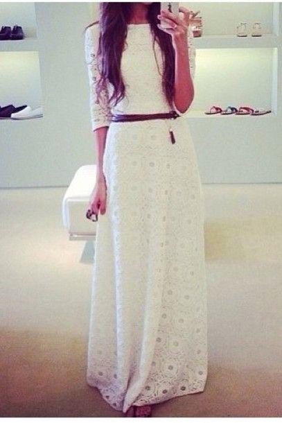 Dress: crochet, lace, maxi dress, white, sleeves, crochet maxi dress, lace dress, jacket, white lacey dress - Wheretoget