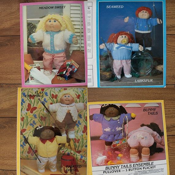 Knitting Patterns For Cabbage Patch Dolls : Vintage 80s Knitting patterns Cabbage Patch Kids Doll SWEATERS Kid, Cabbage...