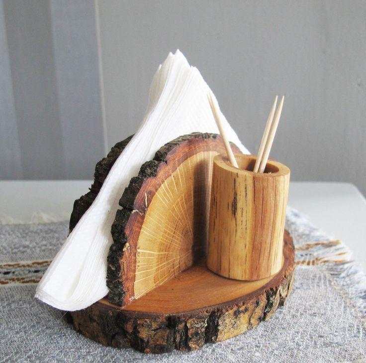 Rustic Oak Wood Napkin Holder, Wooden Napkin Stand and Toothpick Holder, Wooden Napkin Holder, Country Decor, Log Cabin Kitchen