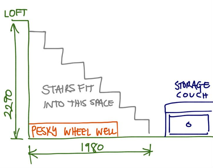 The layout of our storage stairs inside our tiny house--How to calculate and build your own stairs...