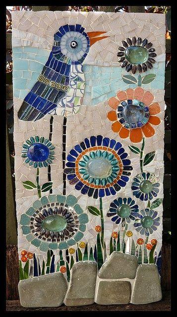 Bidley's Garden ~ Glass mosaic, glass beads, rocks, mirror and broken ceramic cup ~ https://www.flickr.com/photos/49620310@N04/5741511373/