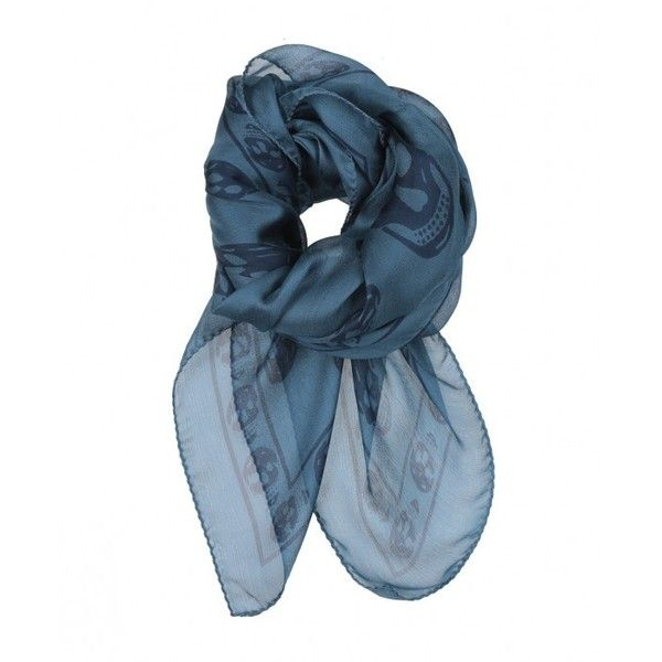 Alexander McQueen Chiffon Skull Scarf Blue ($215) ❤ liked on Polyvore featuring accessories, scarves, skull shawl, alexander mcqueen, blue shawl, chiffon shawl and alexander mcqueen scarves