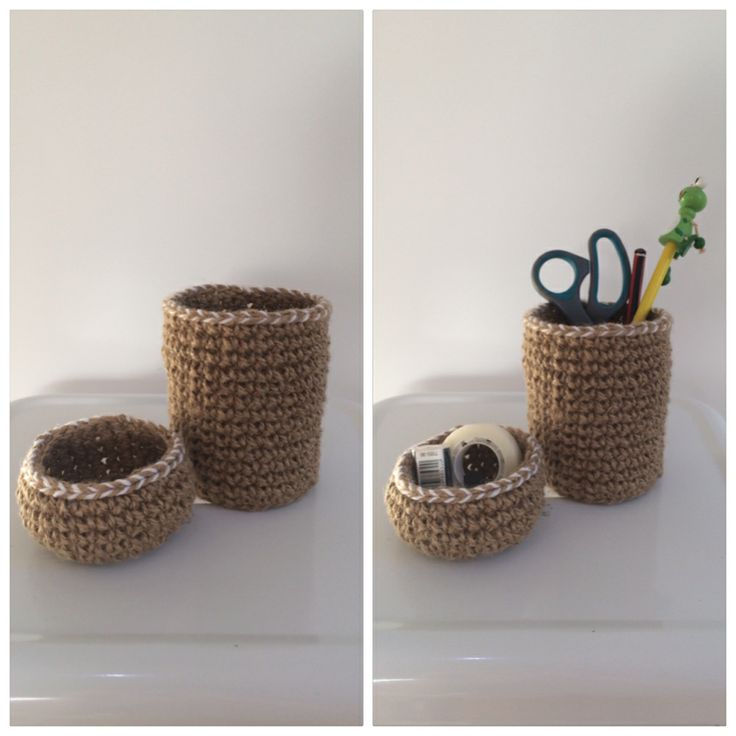 HANDMADE JUTE TWINE CROCHET STORAGE CONTAINERS - DESK SET