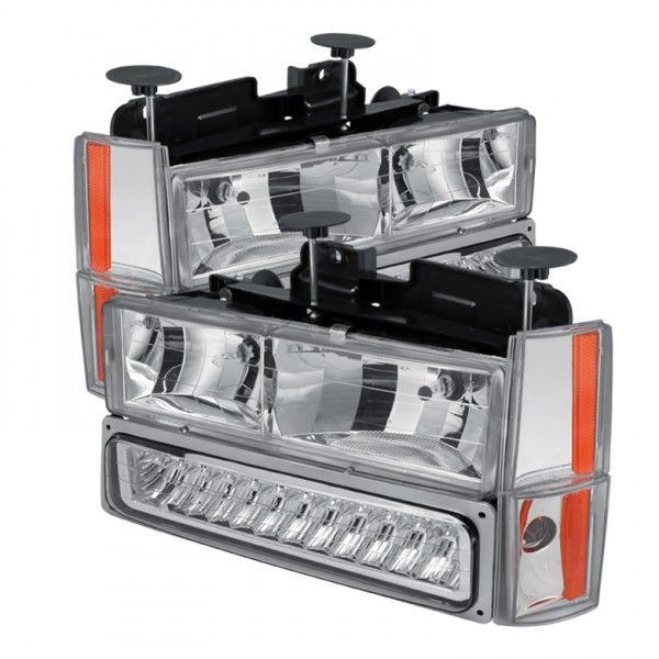 Spyder Auto HD-JH-GMCCK88-LED-AM-C-SET | 1992 Chevy Silverado Chrome/Clear Crystal Headlights for SUV/Truck/Crossover