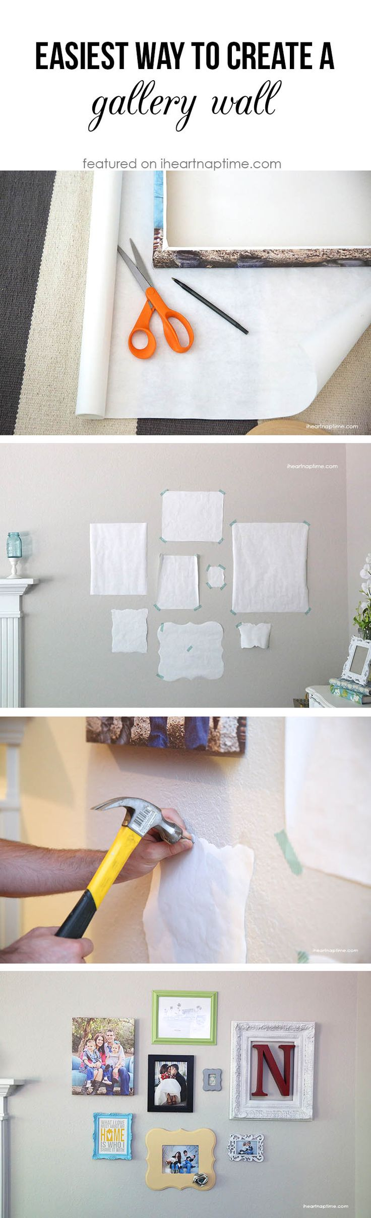 The easiest way to make create a gallery wall! Use wrapping paper to arrange the frames before hanging them up! #tips